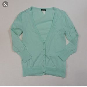 J crew seafoam jewel button cardigan